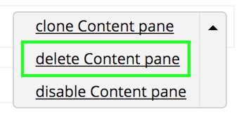 Delete option between clone and disable options in the display options dropdown