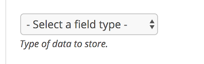 Field Type dropdown for a new contributor field