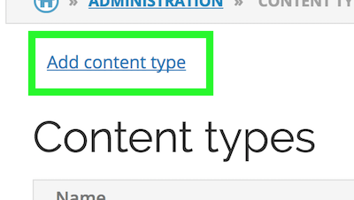 Add content type link between administration breadcrumbs and Content Types title