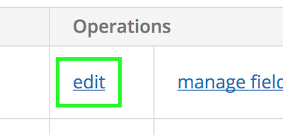 Edit link for a content type in the Operations column