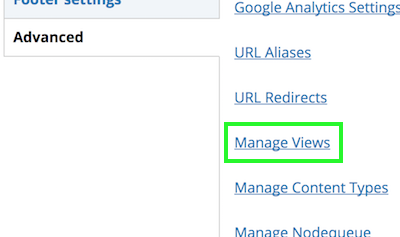 Manage Views link between URL Redirects and Manage Content Types links