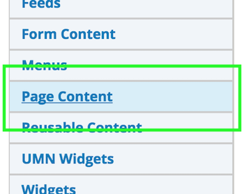 Page Content option between Menus and Reusable Content