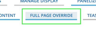 Full Page Override tab between Approved Content and Teaser tabs