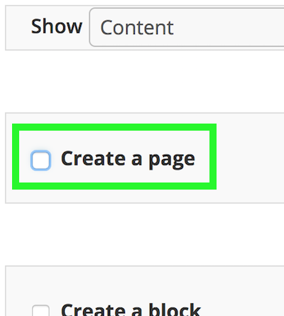 Create a page checkbox