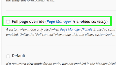 Full page override checkbox