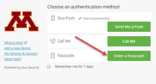 "DUO Authentication Screen with an arrow pointing to ""Enter a passcode"""
