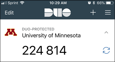 DUO Mobile Interface with sample passcode displayed.