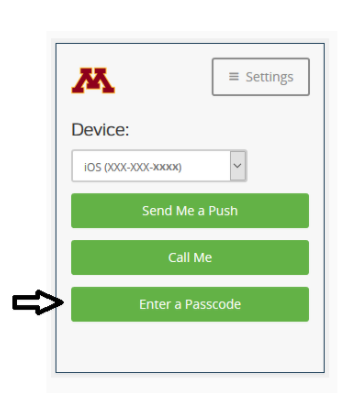 """DUO login screen. An arrow is pointing to """"Enter a Passcode"""""""