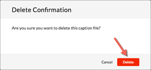 Delete Confirmation popup. The Delete button highlighted.