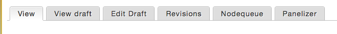 Content editing tabs at the top of the content form