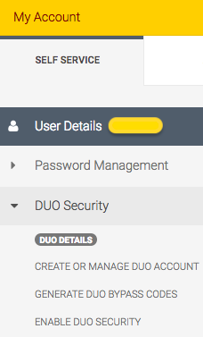 "The Self-Service pane on my-account.umn.edu .  The DUO Security menu is expanded to show the ""Generate DUO bypass codes"" link."