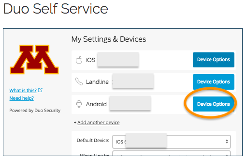 "This is the My Settings & Devices screen in Duo Self Service.  3 devices are registered.  ""Device Options"" is selected next to the 3rd device."