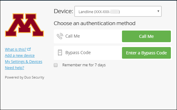 DUO Authentication Screen with Landline selected as the device.