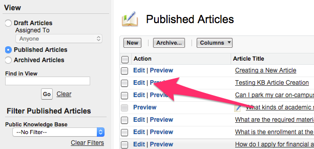Edit in the Action column under Published Articles
