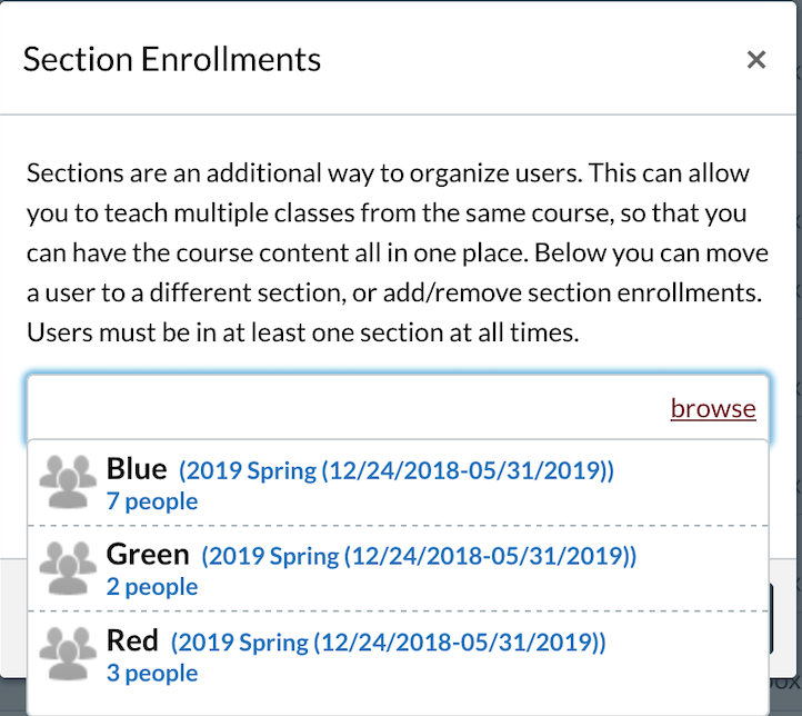 Section Enrollments window