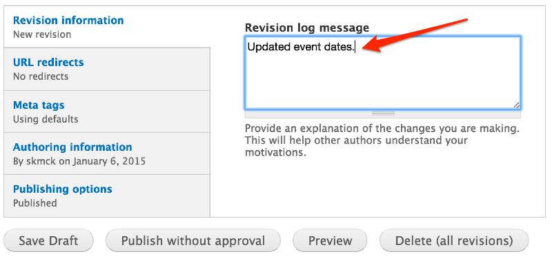Screenshot of publishing options at bottom of Drupal edit page.