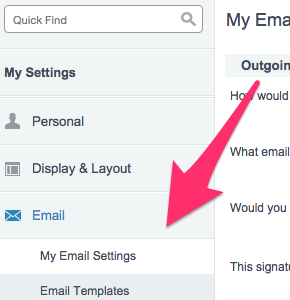 The location of My Email Settings in the left navigation bar