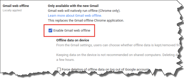 "GMail Offline Settings tab. ""Enable Gmail Web offline"" checkbox is selected."