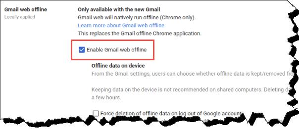 "GMail Offline Settings tab. ""Enable Gmail Web offline"" checkbox is selected."