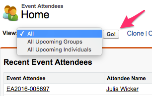 Event Attendees Home with the View: menu expanded and the Go! button highlighted