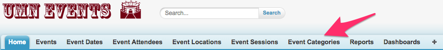 Event Categories in the Navigation Bar