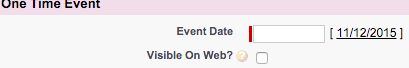 Event Date Field for One Time Event