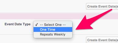 The Event Date Type Dropdown menu