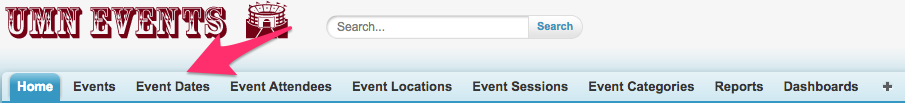 The location of Event Dates in the top navigation bar