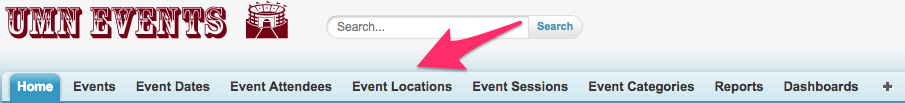 Event Locations in the Navigation Bar