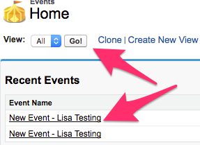 Events Home with the View Menu and Recent Events sections highlighted