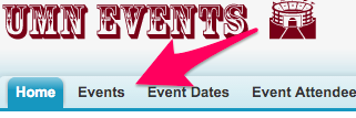 The location of Events on the Events App