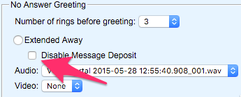 The Disable Message Deposit checkbox under Extended Away