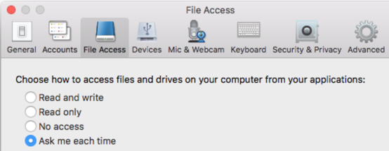 File access choices in the Citrix Receiver
