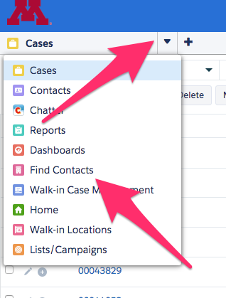 The Service Console Navigation menu expanded with Find Contacts highlighted