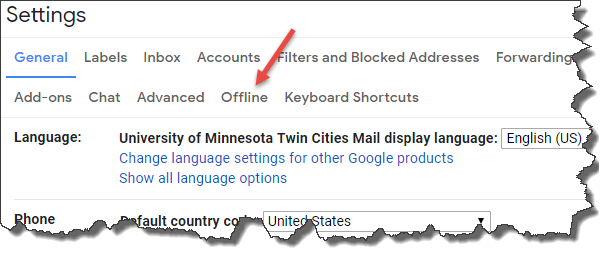 """GMail general settings page. Arrow is pointing to the """"Offline"""" tab."""