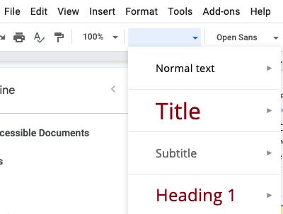 Google Docs style menu