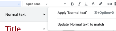 Google Docs style menu options