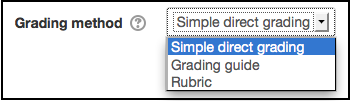 Grading methods options box in the assignment settings area