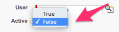 The Active checkbox on Group Member Edit with the menu for True and False expanded