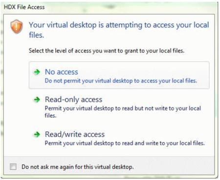 HDX File Access options panel