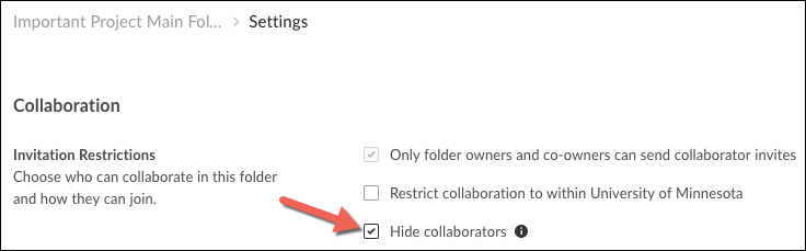 A screenshot showing the location of the Hide Collaborators checkbox on the Collaboration part of the Settings screen