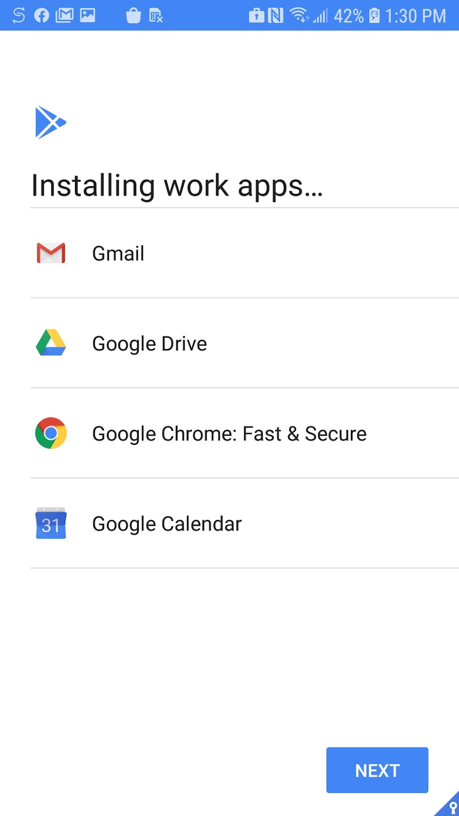Android screen, Installing work apps