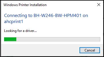 Printer installation progress