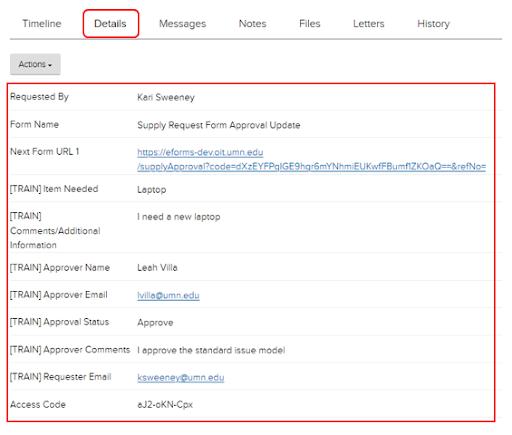 Jadu CXM details tab and form information highlighted
