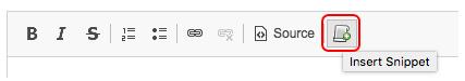 Jadu CXM email template. Insert Snippet highlighted in menu bar.