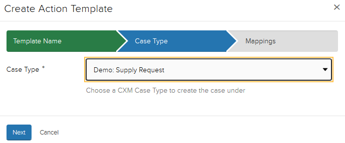 Jadu XFP Case type display window. Selected case type is highlighted.