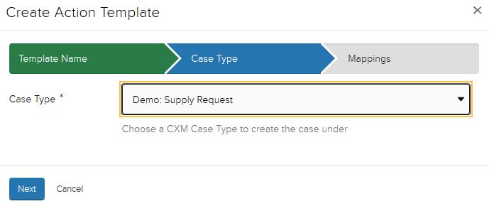 Jadu XFP Case type display window. Selected case type is highlighted.
