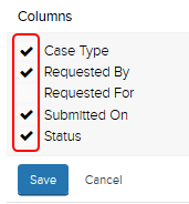 Columns: case type, requested by, requested for, submitted on, status