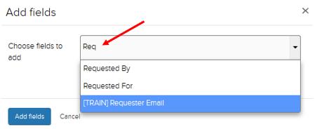 Jadu CXM add fields dropdown. Results shown containing the letters REQ
