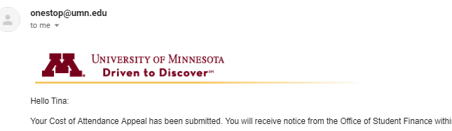 email with UMN banner